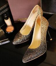 Décollte Zapatos de salón mujer talón perno 9 cm tacón aguja strass oro 9174