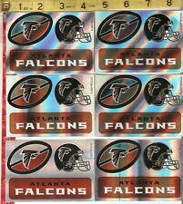 6 sheets of football stickers NFL Atlanta Falcons FREE SHIPPING