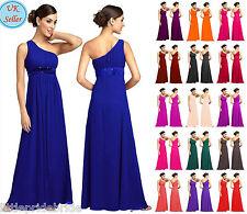 One shoulder Full Length Chiffon Party Evening Wedding Bridesmaid Dress JS03