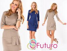 Women's Party Shift Dress 3/4 Sleeve Tunic Boat Neck Bodycon Sizes 8-14 FA320