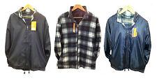 Men's Fleece Lined Reversible Waterproof Work Hooded/Hoodie Jacket Black,Navy