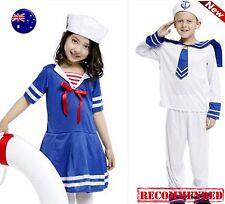 Kid Girl Boy Navy White Sailor anchor marine Costume Dress top Party Hat Cap Set