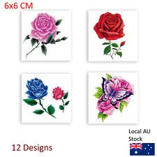 Blue Red Rose Flowers Temporary Tattoo Sticker Cute Body Art Beauty Makeup