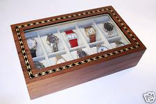 LARGE10 WATCH CASE Walnut 65mm Watches Storage Organizer Box display glass top