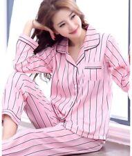 Womens/Ladies Long Sleeve Satin Stripe Pyjamas Pyjama PJ Nightwear Set Size 8-18