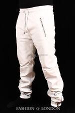 uomo jogging bianco pelle d'agnello in di prima qualità Pantaloni Tuta DRAW