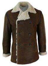 Para hombre real de piel de oveja de piel de oveja Marina Alemana chaqueta de doble botonadura Vintage Marrón