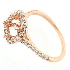 Solid 14k Rose Gold Semi Mount Diamond Halo Ring Setting  0.67 Cts - Cushion Cut