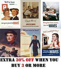 WWII Propaganda Poster US Navy Women Accepted Volunteer Emergency vintage print