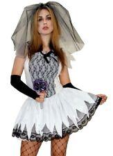 Zombie Braut Zombiekostüm Halloween Kleid Schleier Blumen Armstulpen Gr. 36 38