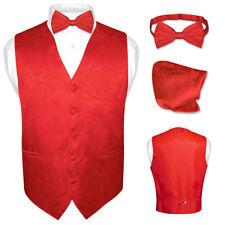 Men's Paisley Design Dress Vest & Bow Tie RED Color BOWTie Set for Suit or Tux