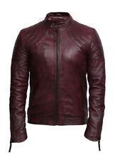Vintage Men's Leather Waxed  Burgundy Leather Biker Jacket Designer Look