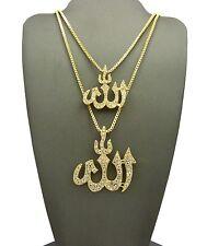 "Hip Hop Iced Out Arabic Allah Pendant 24"",27"",30"" Box Chain 2 Necklace Set"