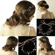Rhinestone Pearl Leaf Flower Bridal Hair Piece Hair Vine Greek Crown Hair Wreath