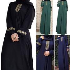Retro Vintage Women Kaftan Abaya Muslim Long Sleeve Print Party Maxi Long Dress