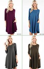 NEW Plus Size 3/4 Sleeve A-Line Swing Dress w/ Side Pockets- L/XL/1X-2X-3X