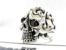 Men's 14K White Gold Skull  Ring With Black Diamonds 2.20 ct
