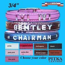Handmade Leather Dog Collars with Chrome letters - Medium Name Dog Collar - USA