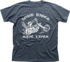 Loud Pipes Save Lives Motorcycle Biker Chopper charcoal t-shirt OZ9132