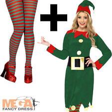 Elf + Tights Fancy Dress Santas Helper Xmas Christmas Party Womens Costume New