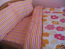 Kids Cotton Pink Floral Twin Size Duvet Cover Sheet Set Red Orange Yellow Stripe