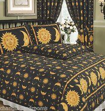 Black gold happy Sun & Moon simple double king Superking Housse de couette ou rideau