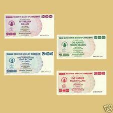 SET OF 4 ZIMBABWE NOTES 50 TO 500 MILLION DOLLARS UNC