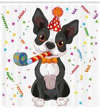 Black White Shower Curtain Boston Terrier Dog Print for Bathroom