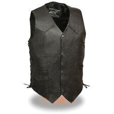 Men's Promotional Grade Cowhide Black Snap Front Side Lace Leather Vest - EL5315