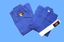 KANKU NEW Blue Karate Uniform, Gi 7.5 oz Adult Kids w/White belt Tae Kwon Do