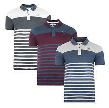 Kangol Men's Cotton Piqué Polo Shirt Jersey Top T-shirt Stripe Grey White Navy