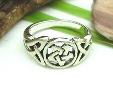 Pentagramm 925 Silber Ring Triquetra Triskele Bandring Kelten
