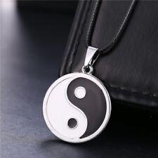 Jin Jang Yin Ying Yang Anhänger rund Edelstahl Farbe silber schwarz