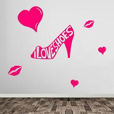 I Love Shoes Labbra Cuori Scarpa Donna Finestra Parete in Vinile Adesivi Decalcomanie NUOVO A381