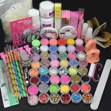 Pro Acrylic Liquid Nail Art Brush Glue Glitter Powder Buffer Tools Set Kit Tips