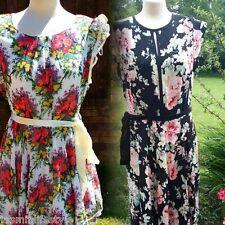 Ladies New Beautiful Summer Rose Print Plus Size 16/26 Full Skirt Swing Dress