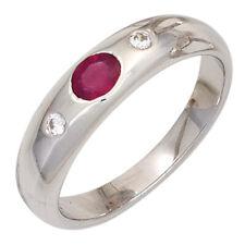 Damen Ring 925 Sterling Silber rhodiniert 1 Rubin rot 2 Zirkonia Silberring NEU