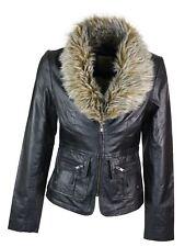 Veste femme cuir véritable style vintage court avec col en fausse fourrure