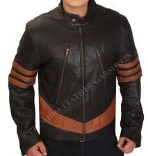 Mens Brown Leather Biker Jacket Vintage Retro Rider Motorcycle - BNWT