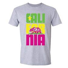 California Republic State T-Shirt Summer Flag Bear West Side Cali Tshirt Gray