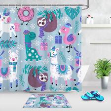 Cartoon Design Alpaca Sloth Xmas Snowflakes Shower Curtain Set Bathroom Decor