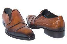 Jo Ghost 458M Italian mens terracota slip on shoes with design