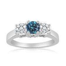 1.00ctw Diamond Three Stone Ring with Center Blue Diamonnd in 10k White Gold