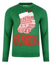 Da Uomo di Natale Natale Novità Babbo Natale in Pile con Cappuccio Maglione Top Con Barba Taglie M-XL