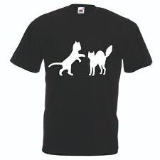 T-shirt maglia cotone donna uomo nera disegno gatto gatti