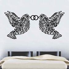 Paire de l'amour floral oiseaux portant anneaux Wall Sticker Amour Art Décor (rom29)
