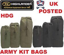 HIGHLANDER HEAVY DUTY CANVAS ARMY STYLE KIT BAG 3 SIZES BLACK / GREEN HOLDALL