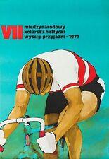 Vintage 1971 Polish Cycle Race Poster  A3 Print