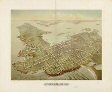 Stampa POSTER Antico città americane città mappa degli stati newport rhode island