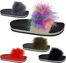Ladies Women Diamante Celeb Farrah Fur Fluffy Slip On Sliders Mule Sandals Shoes